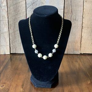 NWT Cream ball Necklace with matching earrings